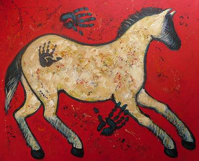 Primitive Modern Cave Art Horse Art Print by Carol Suzanne Niebuhr