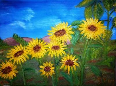 Painting - Primitive Sunflower Garden by The GYPSY
