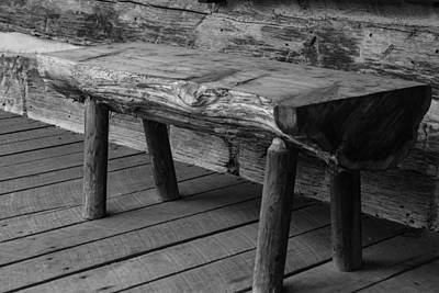 Photograph - Primitive Wooden Bench by Robert Hebert