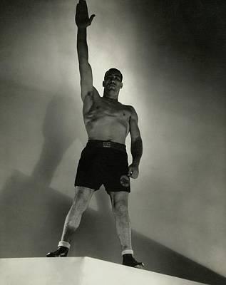 Shirtless Photograph - Primo Carnera Saluting by Edward Steichen