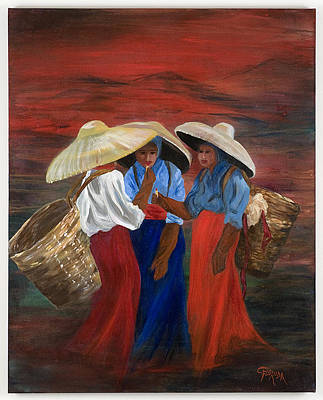 Asian Workers Painting - Primping For Tea Leaves by Csilla Florida