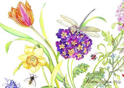 Floral Still Life Painting - Primrose And Dragonfly by Kimberly McSparran