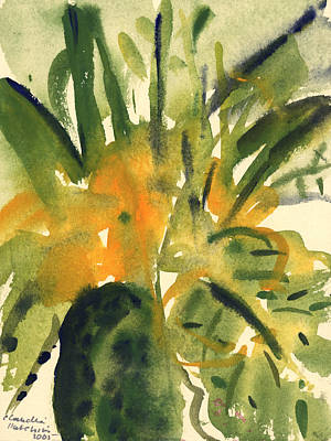 Green And Yellow Painting - Primroses by Claudia Hutchins-Puechavy