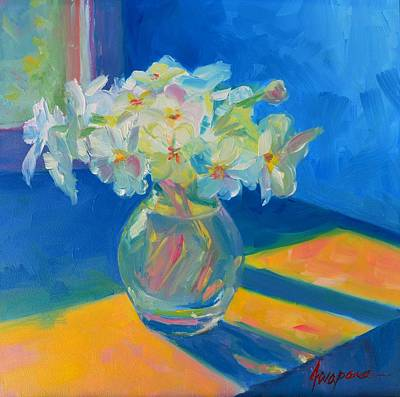 Painting - Primroses In Spring Light - Still Life by Patricia Awapara