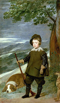 Whippet Photograph - Prince Balthasar Carlos 1629-49 Dressed As A Hunter, 1635-36 Oil On Canvas by Diego Rodriguez de Silva y Velazquez