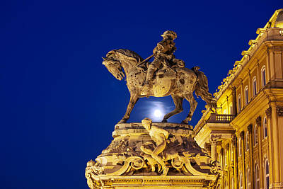 Budapest Sights Photograph - Prince Eugene Of Savoy Statue At Night by Artur Bogacki
