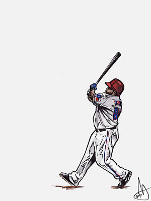 Texas Drawing - Prince Fielder by Joshua Sooter