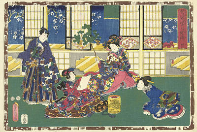 Prince Genji, An Elegantly Dressed Woman And A Maid Art Print