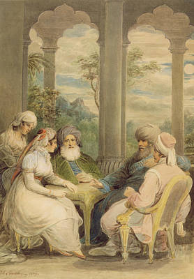 Discussions Photograph - Prince Rasselas And His Sister Conversing In Their Summer Palace On The Banks Of The Nile, 1804 Wc by Samuel Shelley