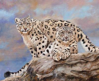 Snow Leopard Painting - Princes Of The Peaks by David Stribbling