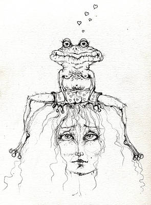 Toads Drawing - Princess And The Frog by Angel  Tarantella