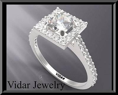 14k Jewelry - Princess Cut Diamond 14k White Gold Engagement Ring by Roi Avidar