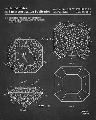 Negro Drawing - Princess Cut Diamond Patent Gray by Nikki Marie Smith