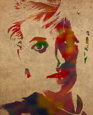 Princess Diana Watercolor Portrait On Worn Distressed Canvas Art Print