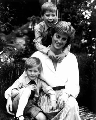 Princess Diana With Her Sons  Art Print