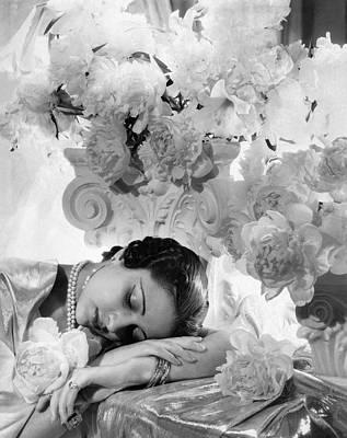 Pearl Necklace Photograph - Princess Karam Of Kapurthala With Flowers by Cecil Beaton