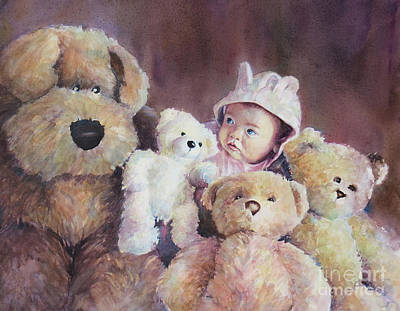 Teddy Bear Watercolor Painting - Princess Layla And Friends by Gabriele Baber