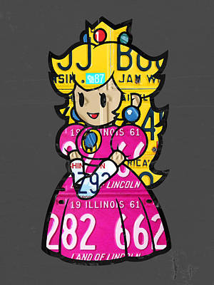 Princess Peach From Mario Brothers Nintendo Recycled License Plate Art Portrait Art Print by Design Turnpike