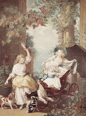 Fun Flowers Drawing - Princesses Mary Sophia And Amelia Daughters Of George IIi by John Singleton Copley