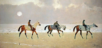 Princeteau's Riders On The Beach At Dieppe Art Print