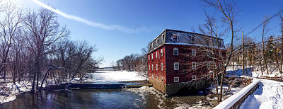 Princeton New Jersey - Kingston Mill In Winter Print by Bill Cannon