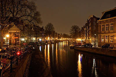 Prinsengracht Canal After Dark Art Print