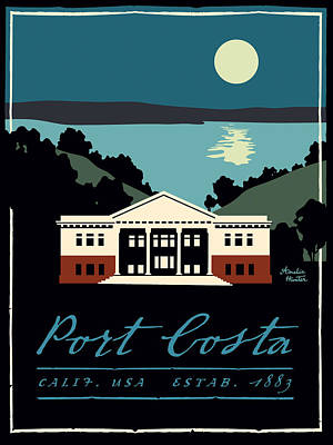Martinez Painting - Port Costa School Blues by Amelia Hunter