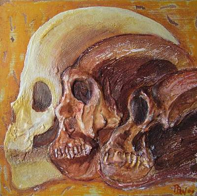 Selection Mixed Media - Print Darwinian Study-02-skulls by Pat Bullen-Whatling