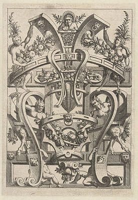 Print Featuring A Fruit Garland, Print Maker Anonymous Print by Anonymous And Cornelis Bos