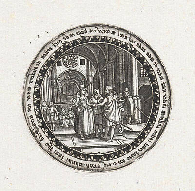 Bible Verse Drawing - Print Of A Medallion With A Depiction Of A Wedding Ceremony by Dirck Strijcker