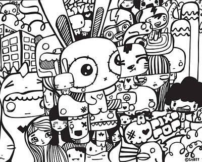 Mess Digital Art - Print by Pixopop
