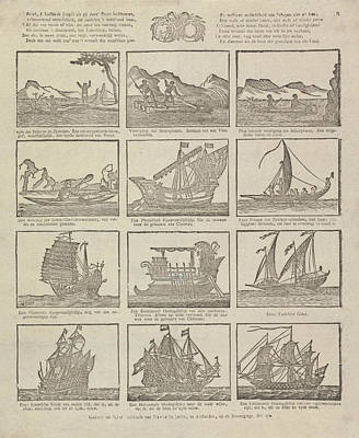 Canoe Drawing - Print Showing Various Old Ships, David Le Jolle by David Le Jolle And Anonymous