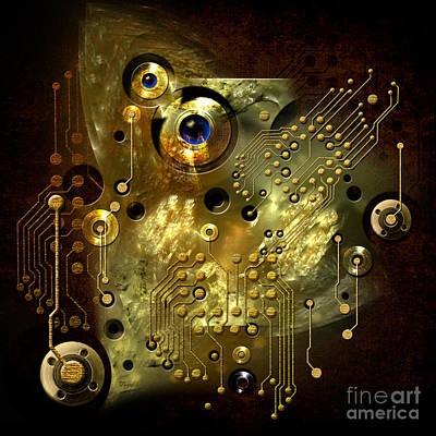 Digital Art - Printed Circuit With Blue Eye by Alexa Szlavics
