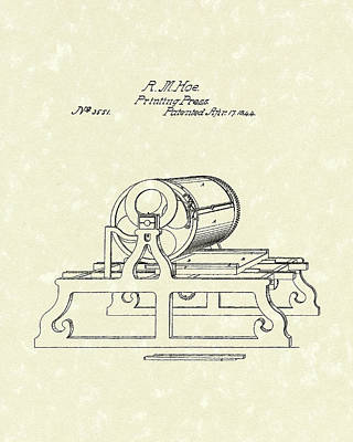 Drawing - Printing Press 1844 Patent Art by Prior Art Design
