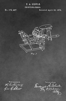 Printing Drawing - Printing Press Patent Drawing by Dan Sproul