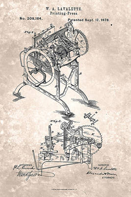 Painting - Printing Press Patent From 1878 by Celestial Images