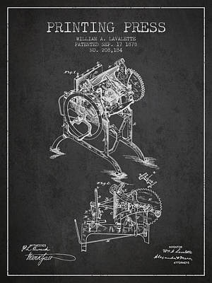 Printing Press Patent From 1878 - Dark Art Print by Aged Pixel