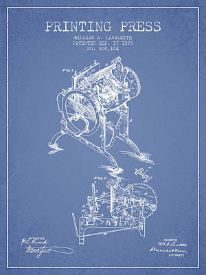 Printing Press Patent From 1878 - Light Blue Art Print by Aged Pixel