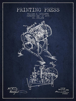 Printing Press Patent From 1878 - Navy Blue Art Print by Aged Pixel