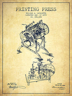 Printing Press Patent From 1878 - Vintage Art Print by Aged Pixel