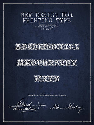 Printing Type Patent Drawing From 1878 - Navy Blue Art Print