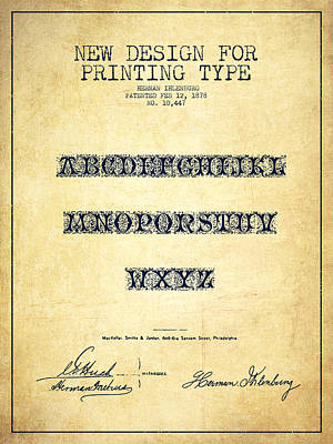 Printing Type Patent Drawing From 1878 - Vintage Art Print