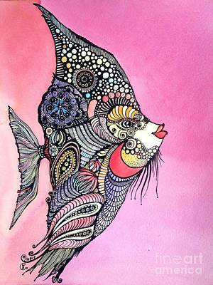 Painting - Priscilla The Fish by Iya Carson