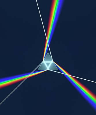Prism And 3 Spectrums Art Print by David Parker