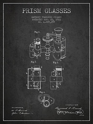 Magnified Digital Art - Prism Glasses Patent From 1911 - Dark by Aged Pixel
