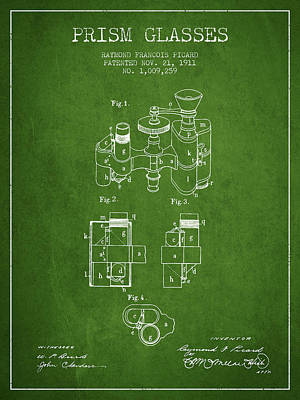 Prism Drawing - Prism Glasses Patent From 1911 - Green by Aged Pixel