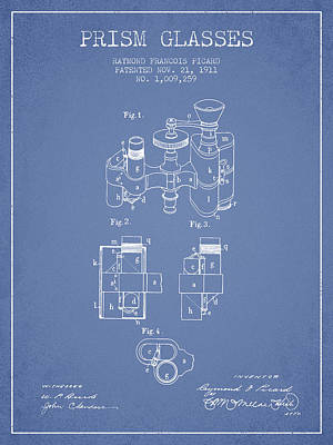 Prism Drawing - Prism Glasses Patent From 1911 - Light Blue by Aged Pixel