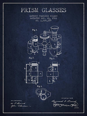 Prism Drawing - Prism Glasses Patent From 1911 - Navy Blue by Aged Pixel