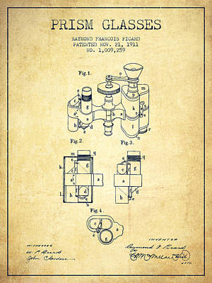 Prism Drawing - Prism Glasses Patent From 1911 - Vintage by Aged Pixel