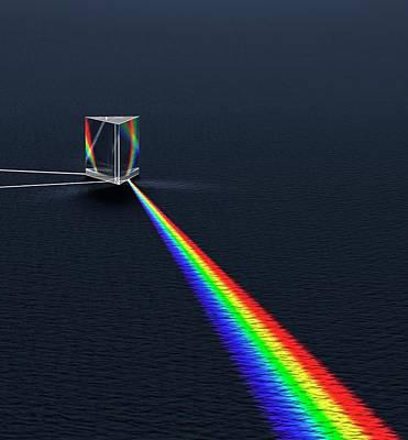Prism Refracting Visible Light Spectrum Art Print by David Parker